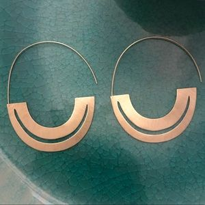 Anthropologie Jewelry - Anthropologie flat gold crescent hoop earring